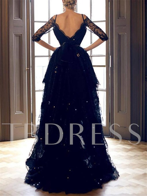 Off-The-Shoulder Asymmetrical Length Sequins Evening Dress