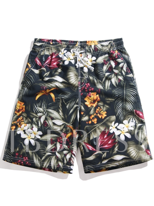 Floral Print Loose Men's Beach Shorts