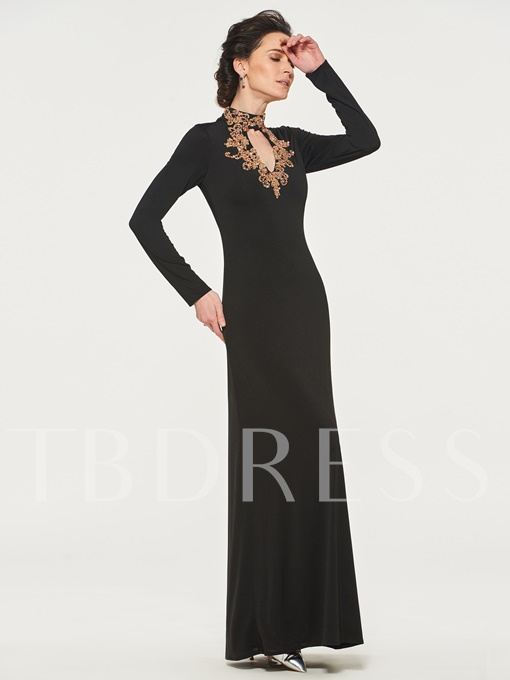 Beaded High Neck Mother of the Bride Dress