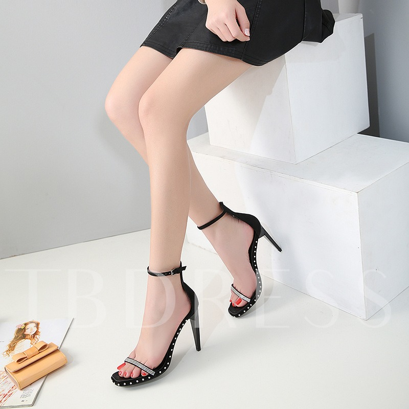 Square Toe Rhinestone Buckle Women's Black Sandals