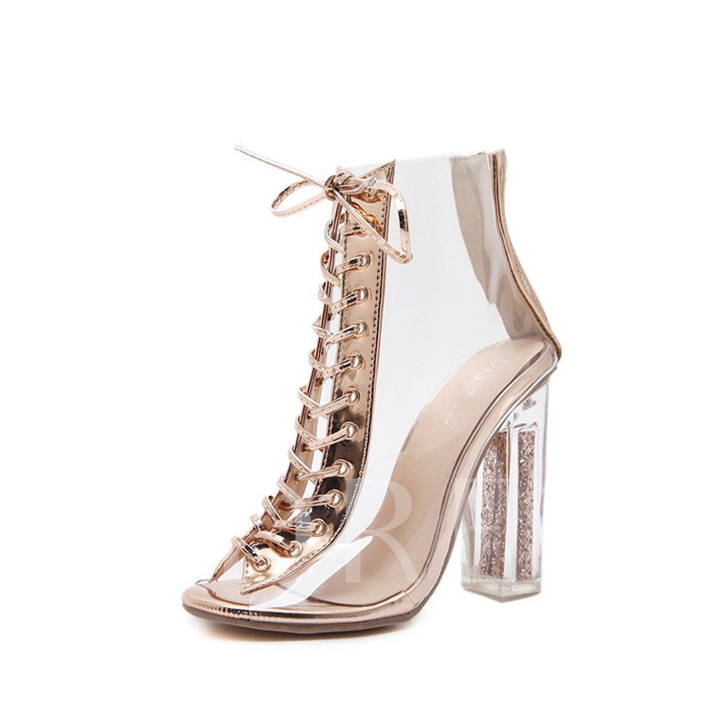 Buy Cross Strap Zipper Chunky Heel Nude Booties for Wedding, Spring,Fall, 13165844 for $45.28 in TBDress store