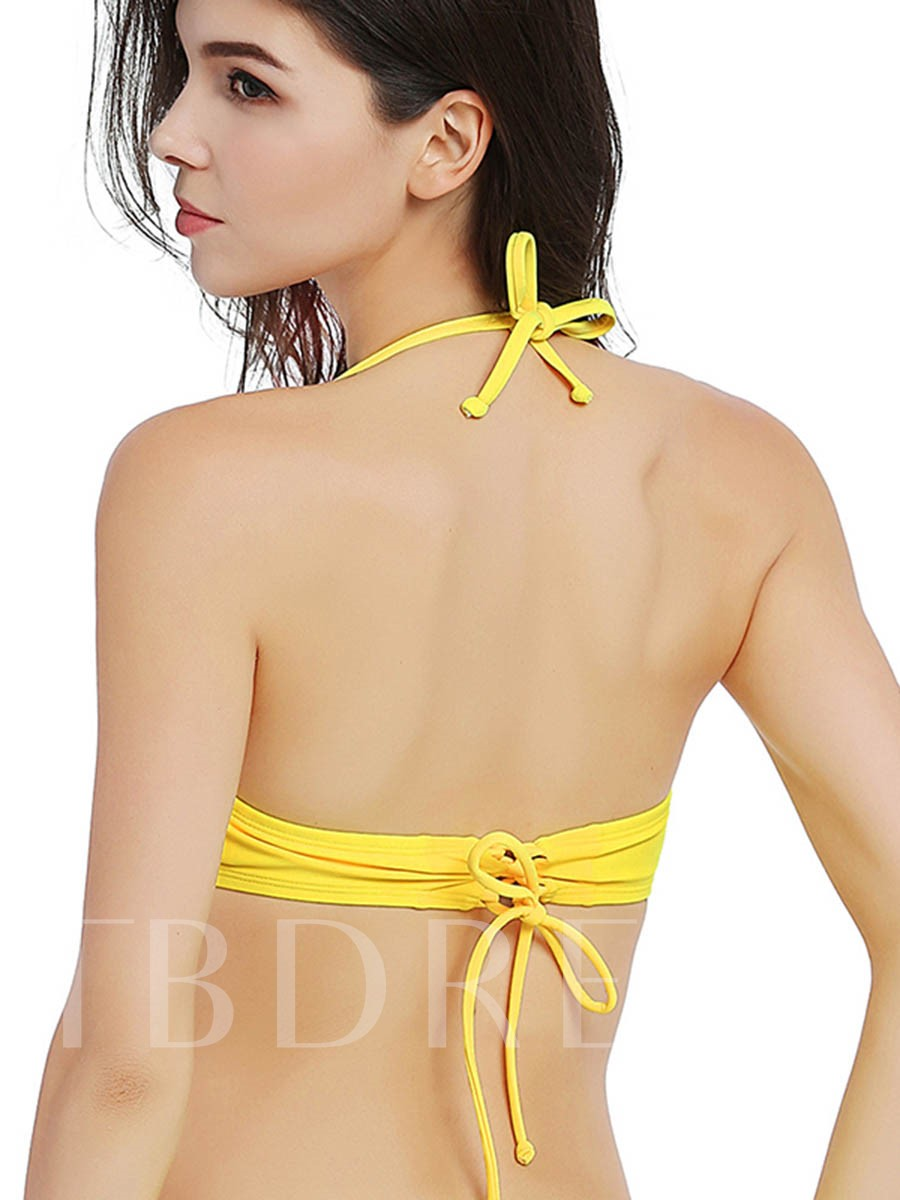 Plain Lace-Up Halter Bikini Top
