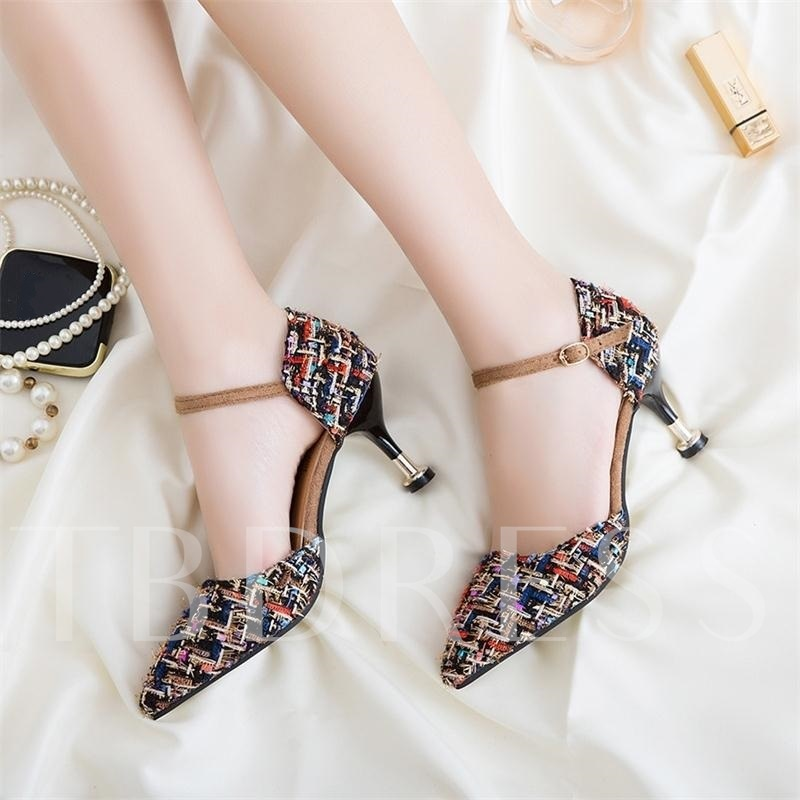 Colorful Cloth Buckle Spool Heel Women's Pumps