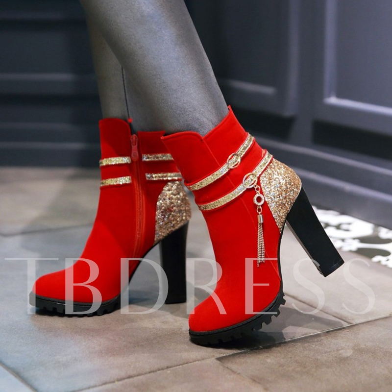 Color Block Fringe Buckle Rhinestone Women's Thick Heel Boots for Women