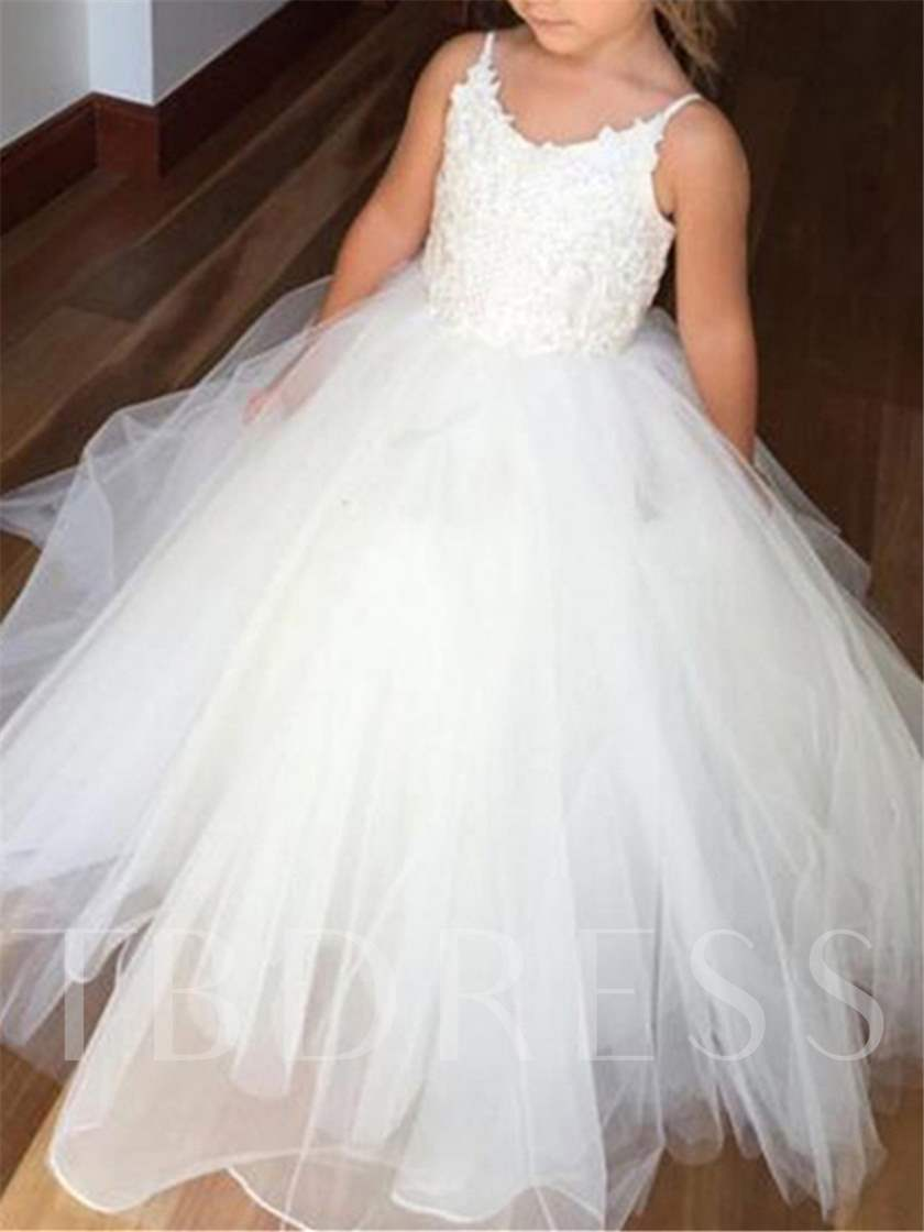 8d93eb689d7 Spaghetti Straps Appliques Ball Gown Flower Girl Dress - Tbdress.com