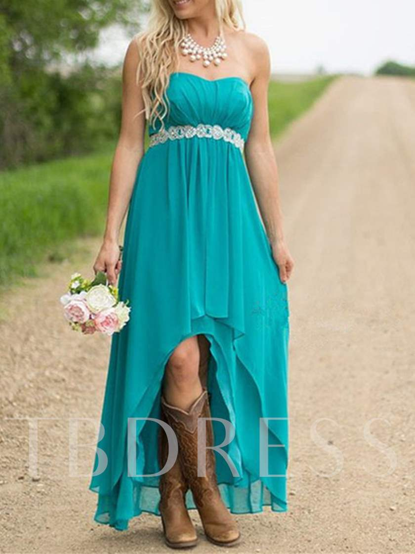 Strapless Chiffon High Low Bridesmaid Dress
