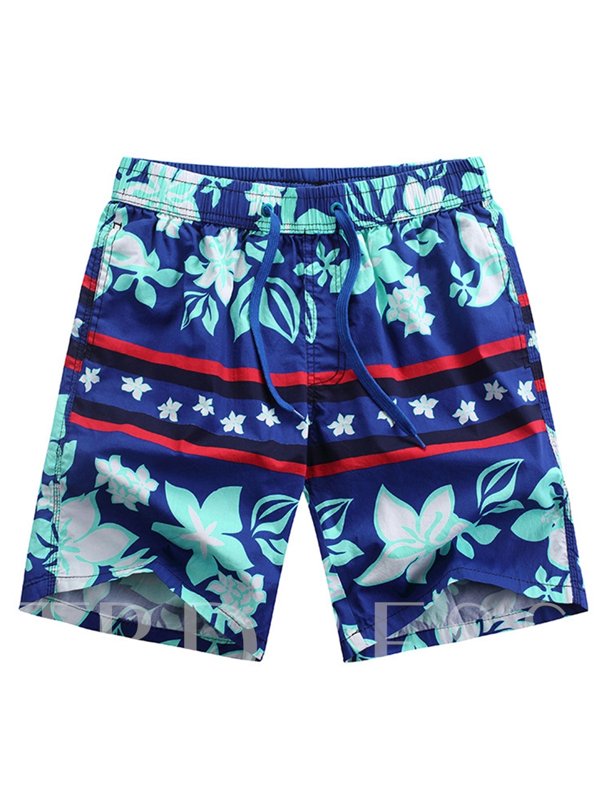 Floral Print Slim Men's Swim Shorts