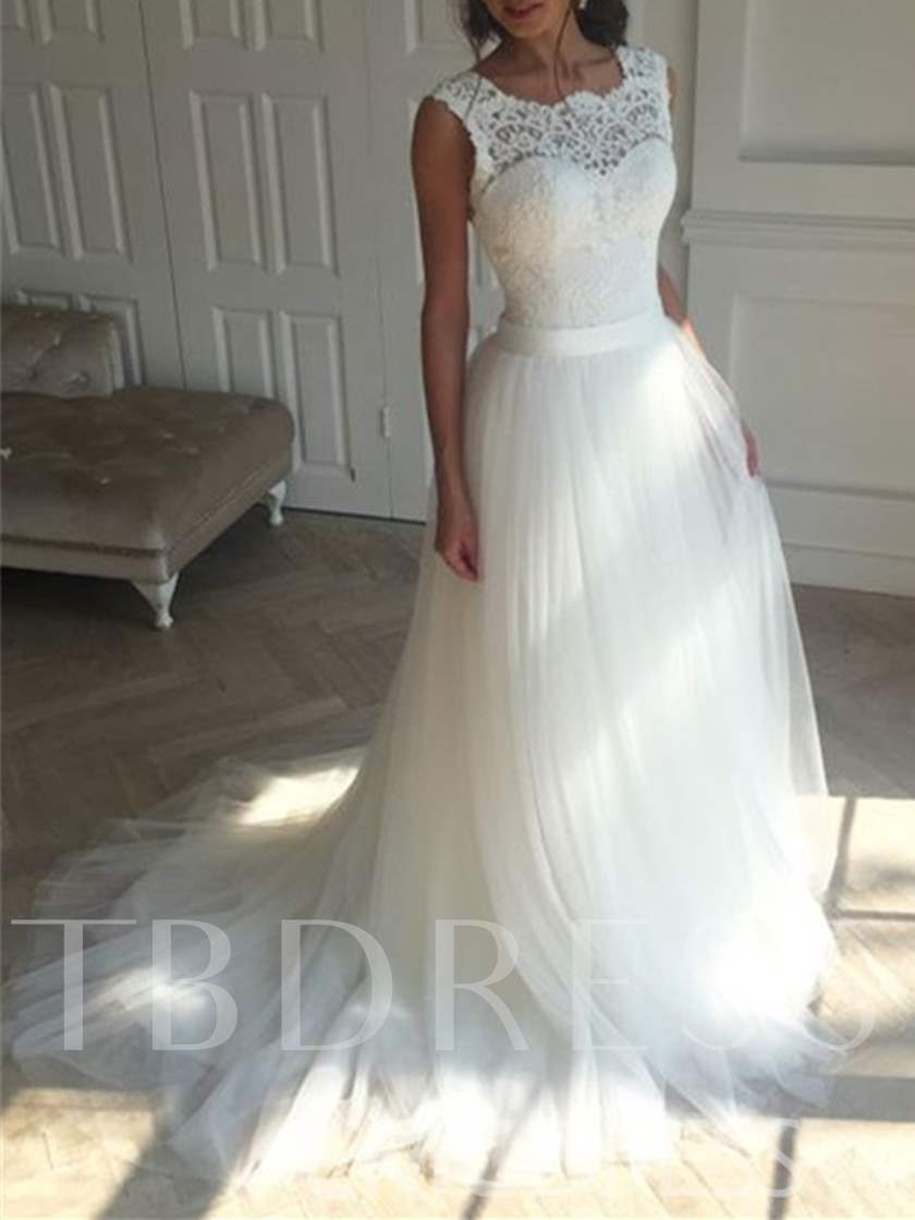 Lace Top Lace-Up Beach Wedding Dress - Tbdress.com