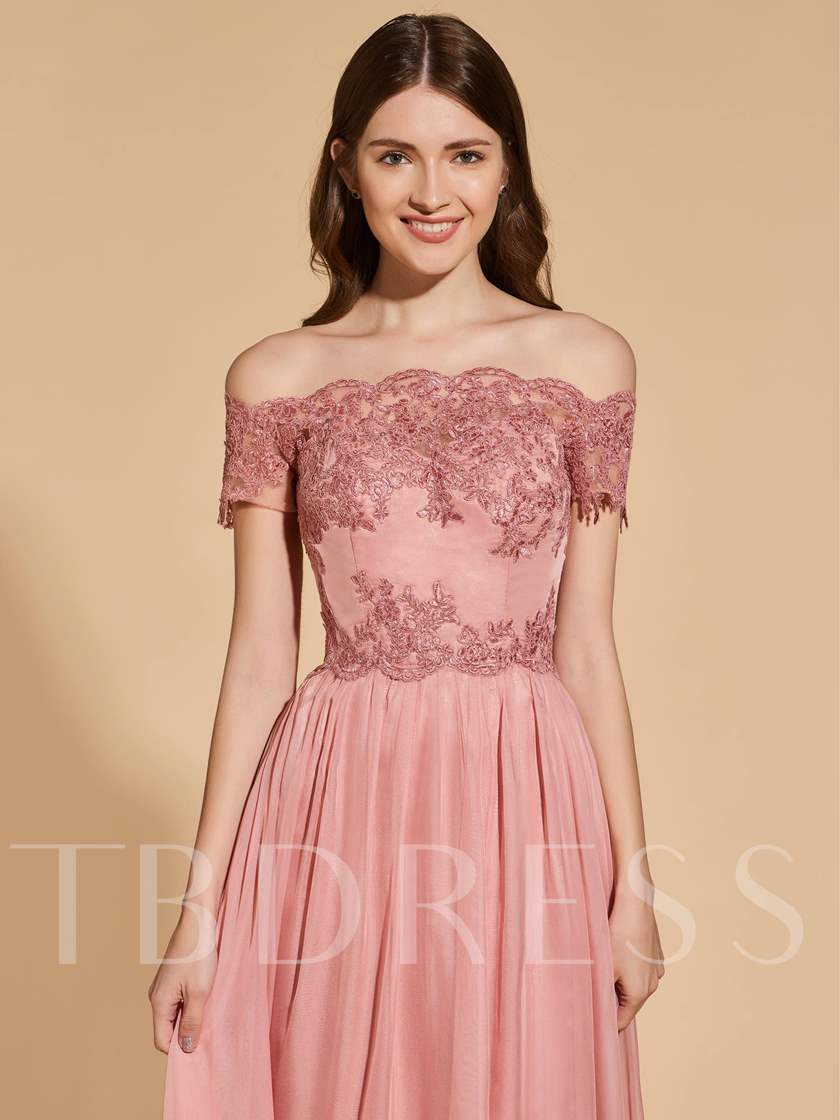 A-Line Empire Button Lace Prom Dress