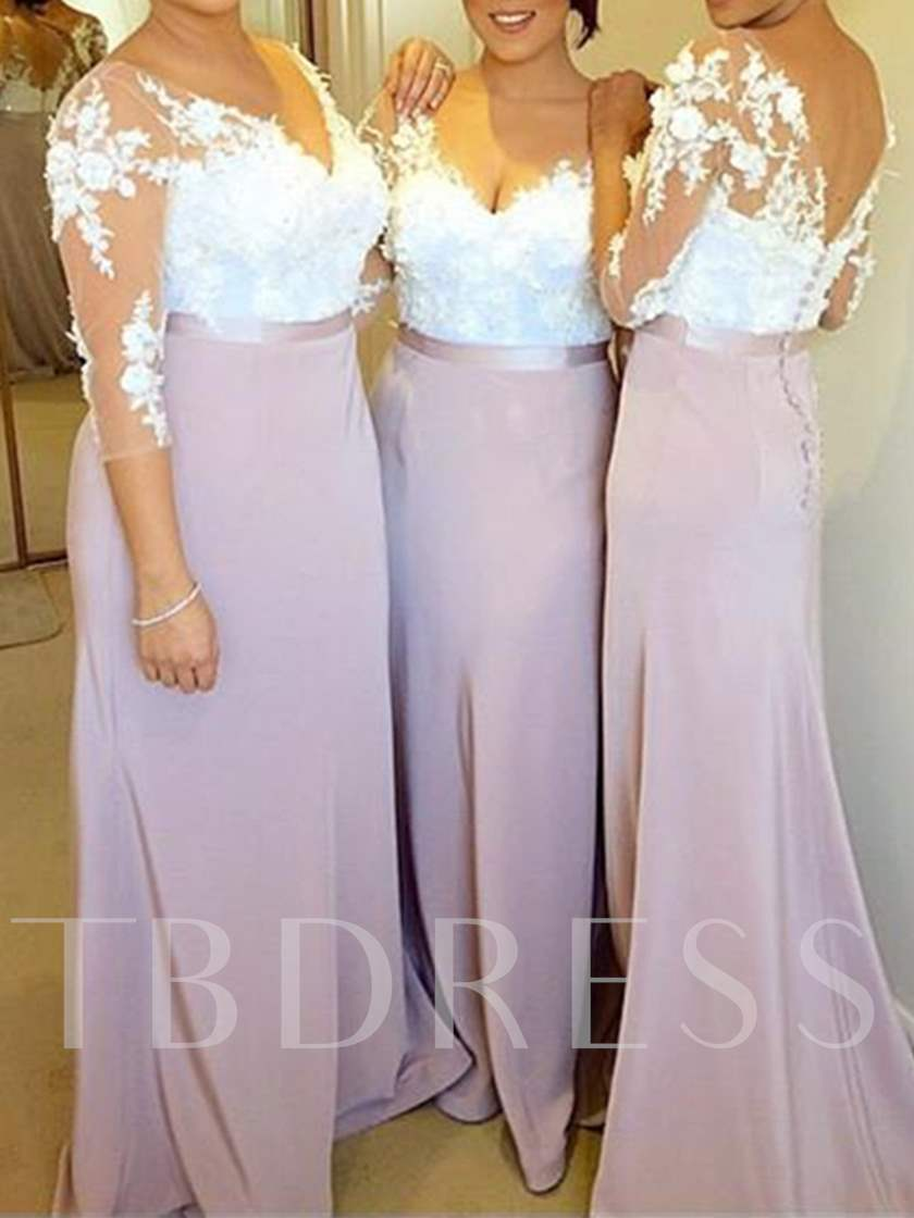 3/4 Length Sleeves Appliques Sheath Bridesmaid Dress