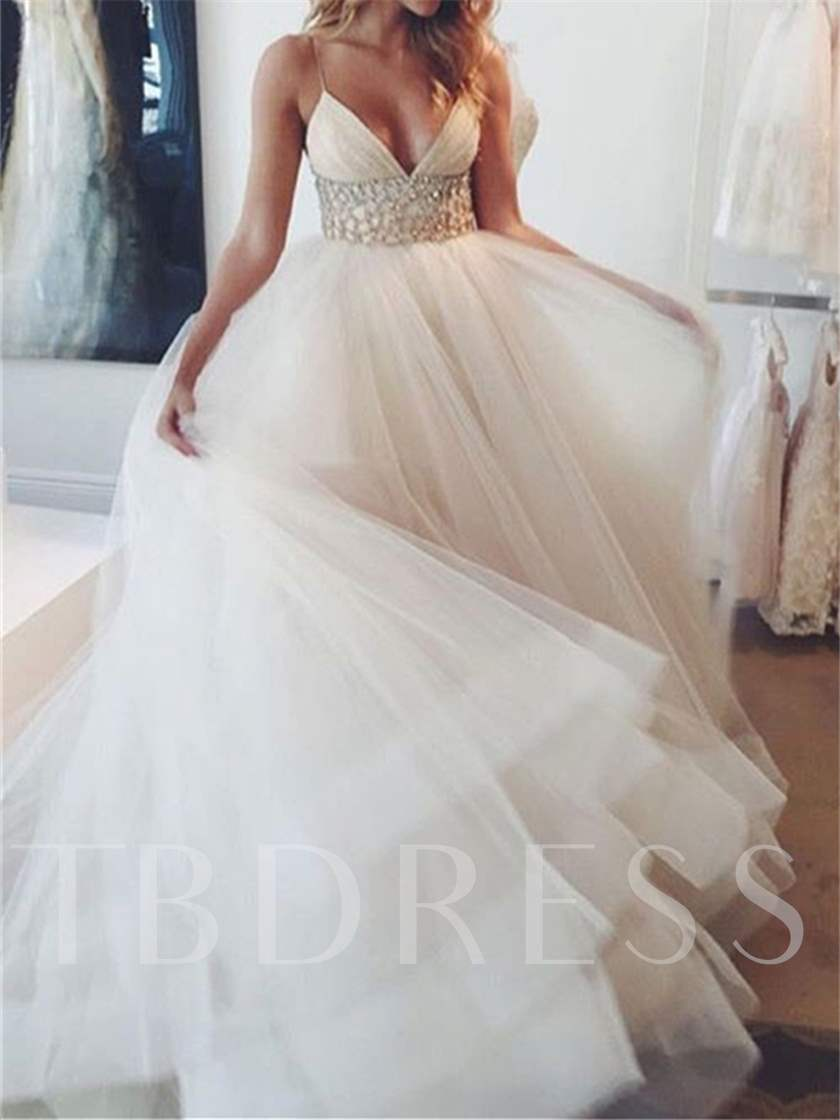 2d8ecf56540d Spaghetti Straps Beaded Empire Waist Wedding Dress - Tbdress.com