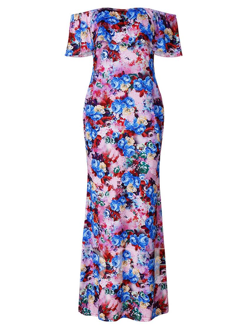 Floral Slash Neck Bohemian Women's Maxi Dress