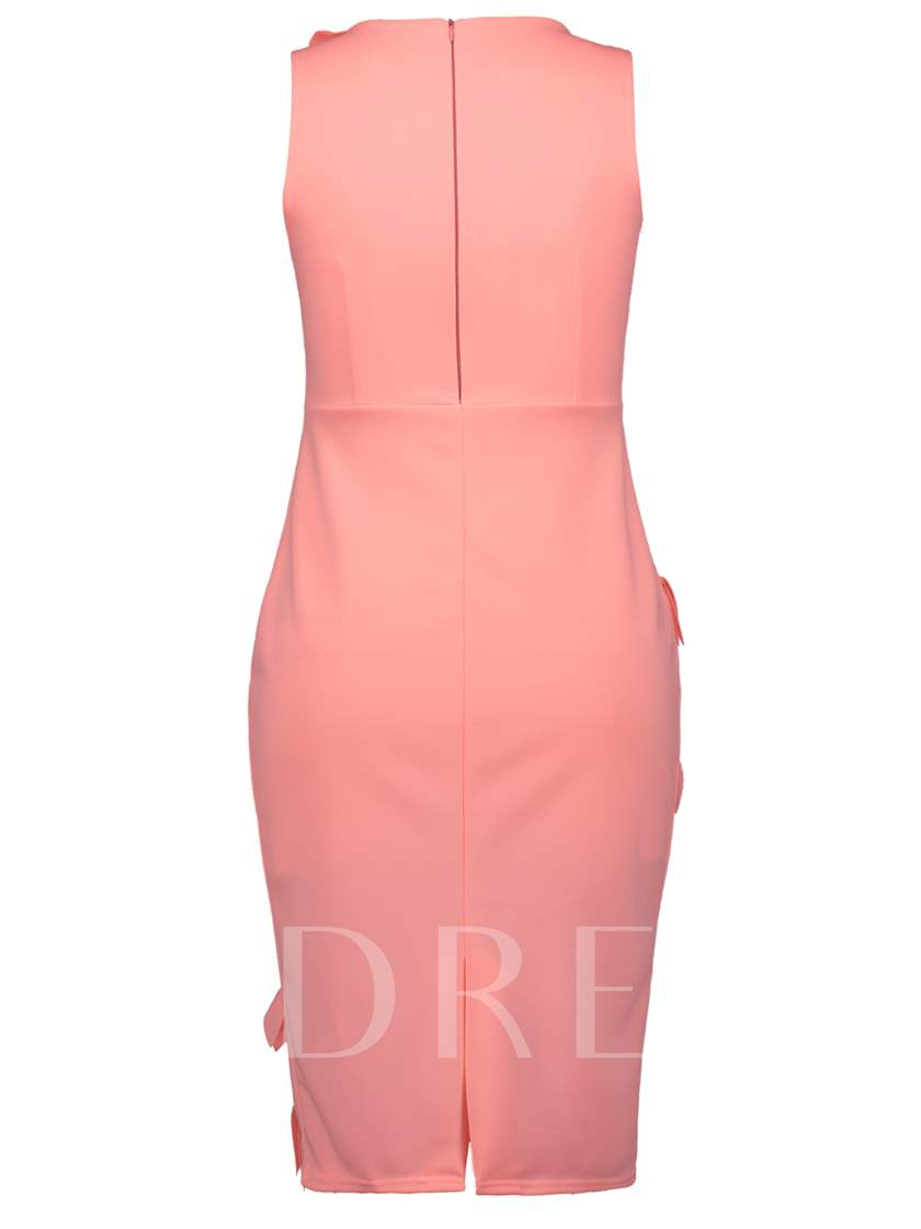 Pink Sleeveless Appliques Women's Sheath Dress