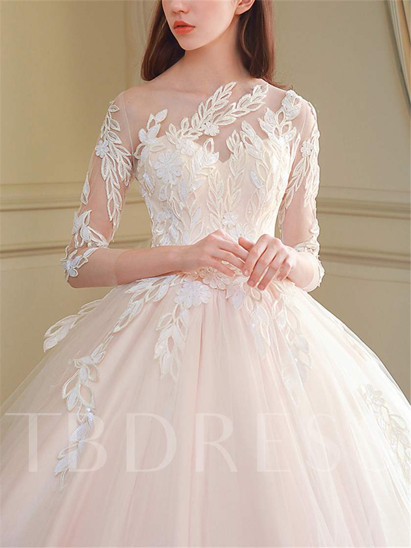 Appliques Sleeves Wedding Dress with Train