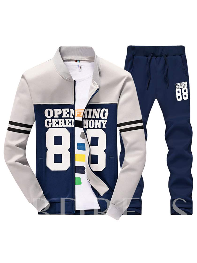 Letter Print Plain Slim Men's Sports Suit