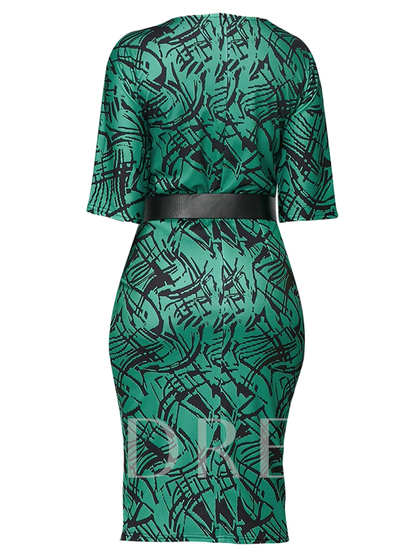 Green Half Sleeve Pullover Women's Bodycon Dress