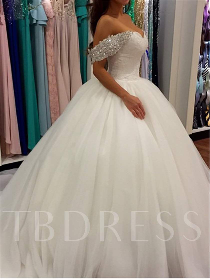 Off the Shoulder Beading Appliques Ball Gown Wedding Dress