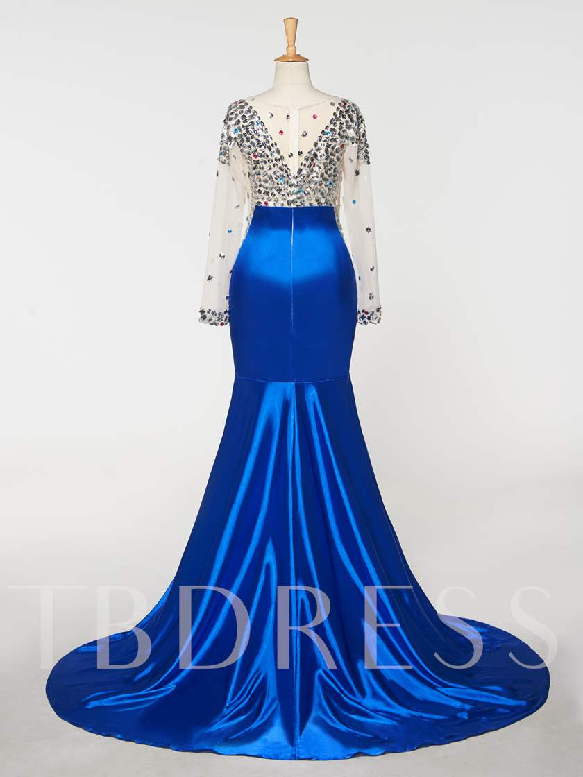 Scoop Mermaid Beaded Rhinestone Evening Dress
