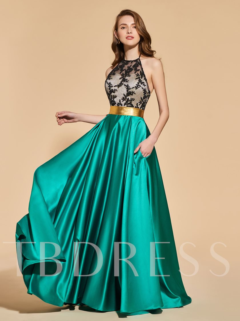 A-Line Lace Halter Empire Sashes Evening Dress