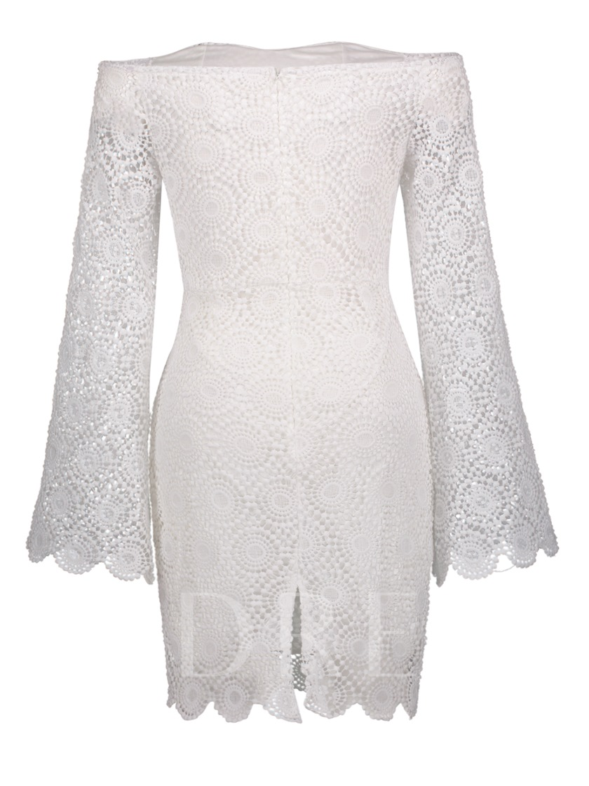 White off Shoulder Bell Sleeve Women's Lace Dress