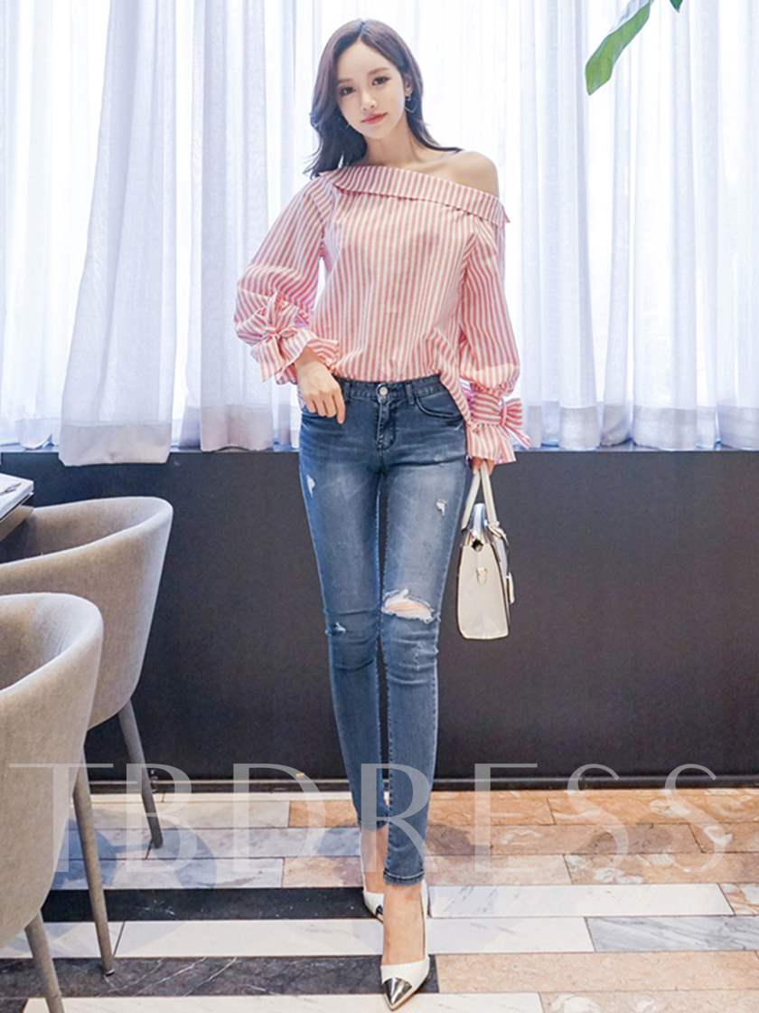 One Shoulder Off Stripe Bowknot Women's Blouse
