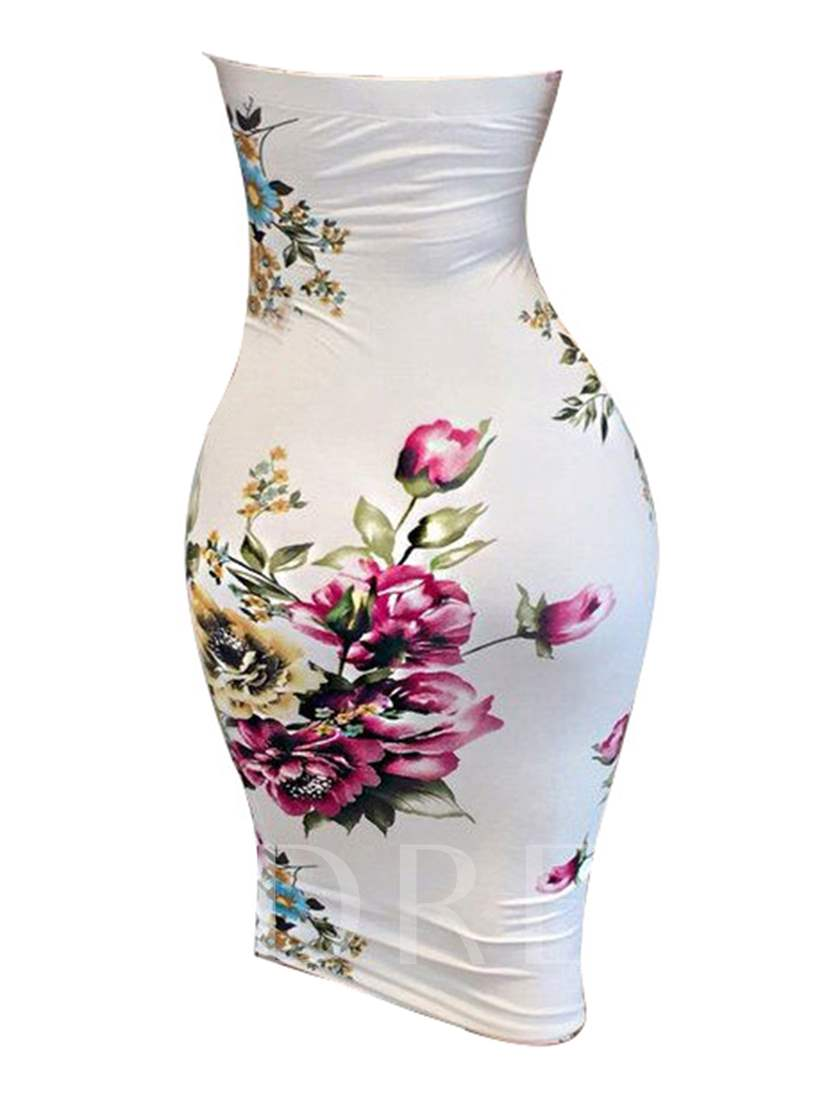 White Printing Strapless Women's Party Dress