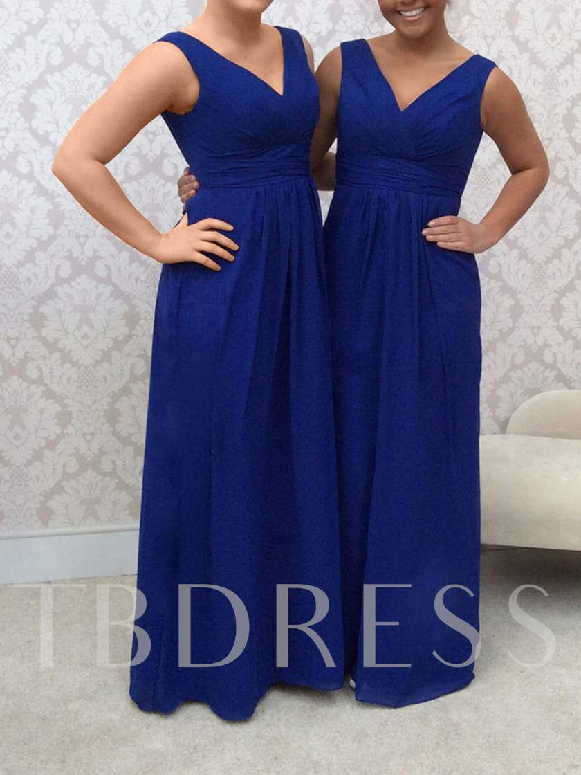 Casual V-Neck Chiffon Floor-Length Multi-Color Bridesmaid Dress