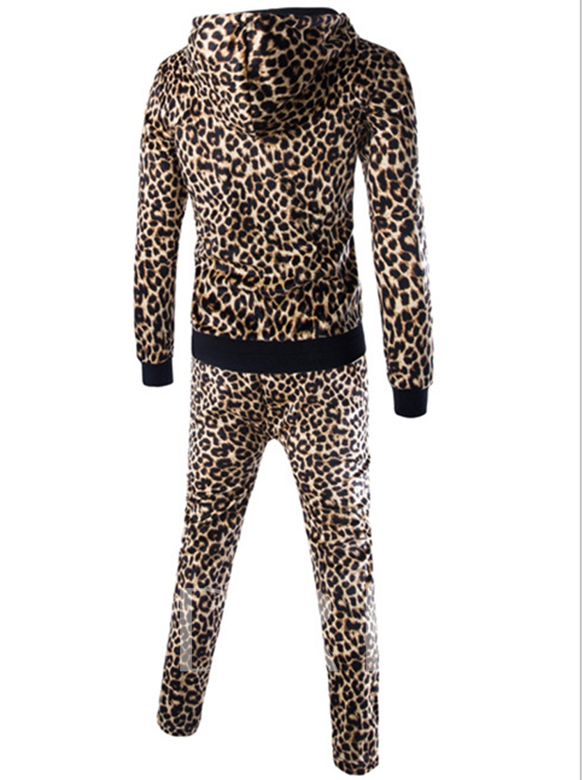 Leopard Print Cardigan Zipper Men's Leisure Suits