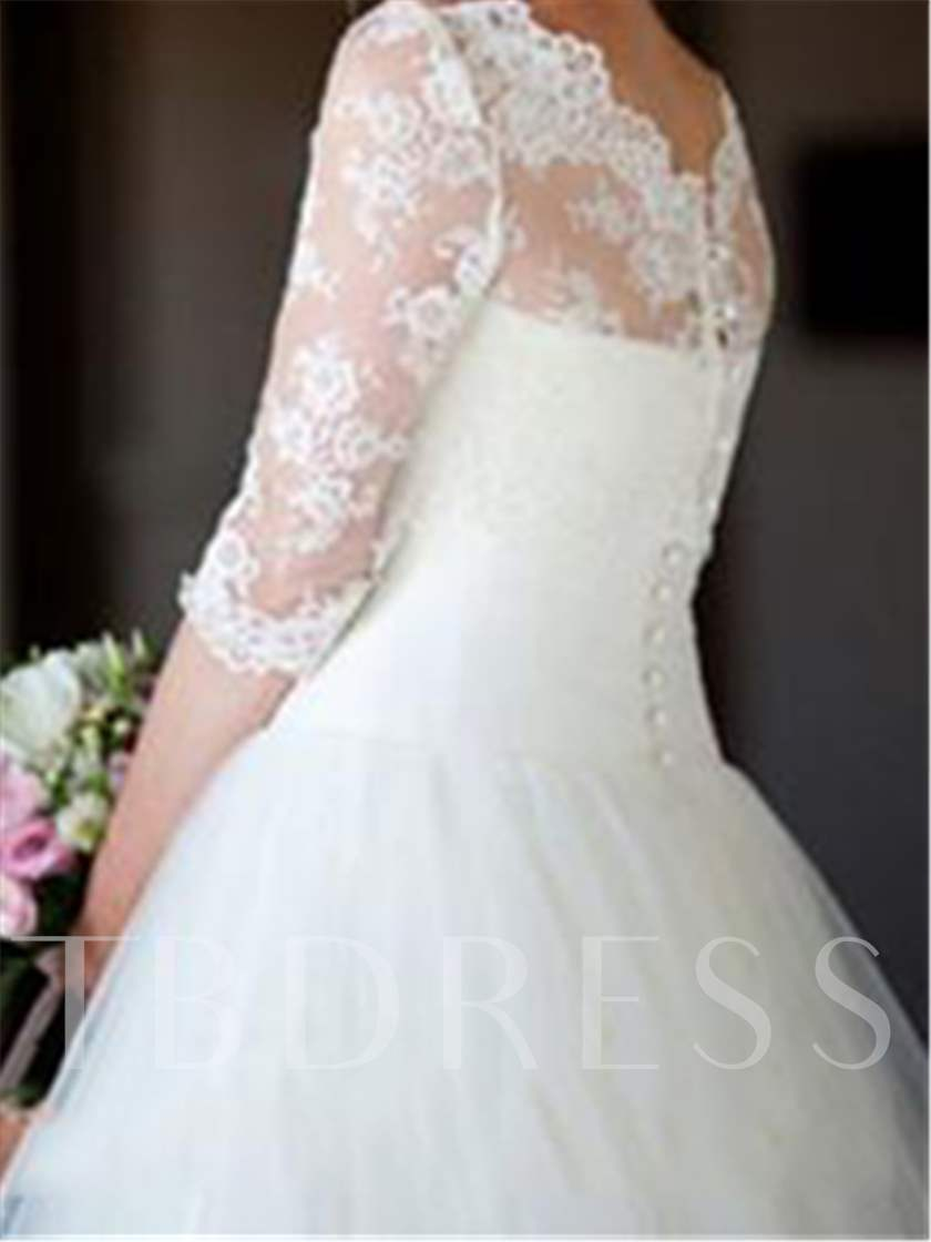 Scalloped Edge Half Sleeves Appliques Wedding Dress
