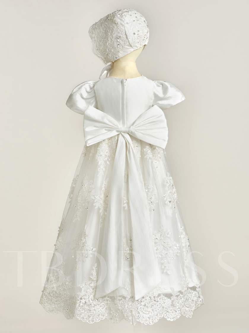 Short Sleeves Sequins Appliques Christening Gown