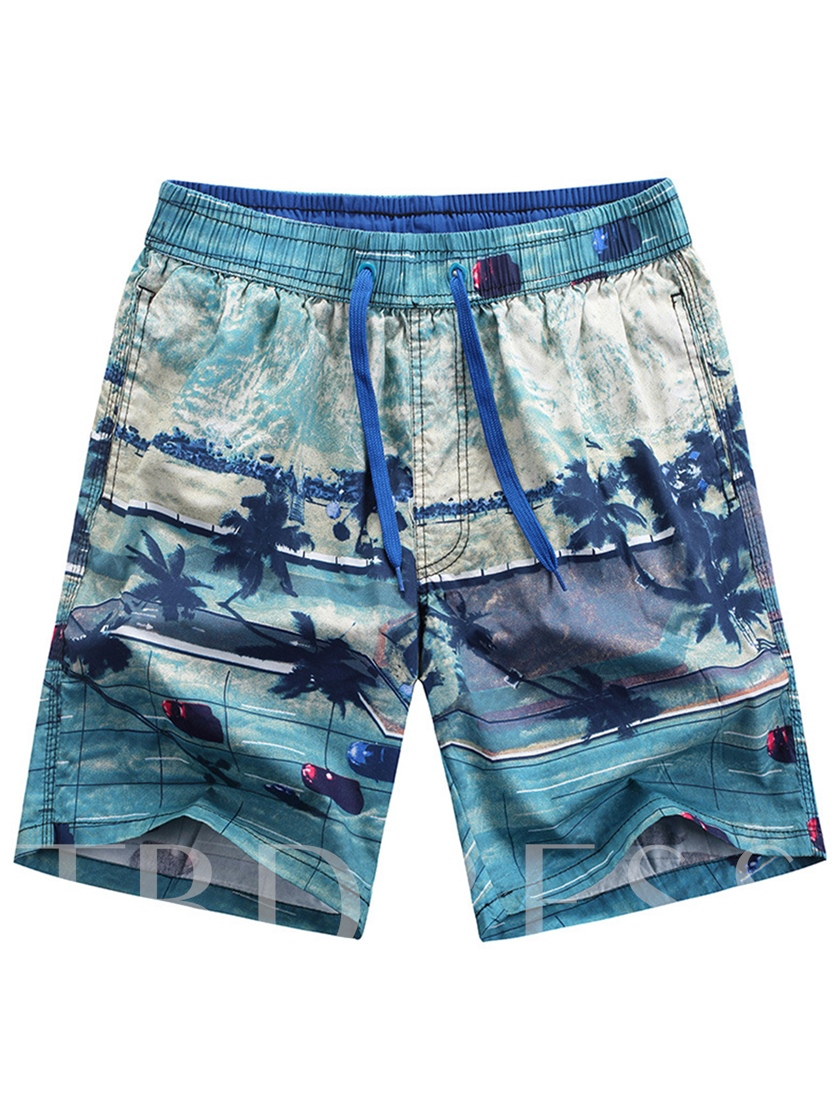 Lace-up Print Loose Quick Dry Men's Beach Shorts