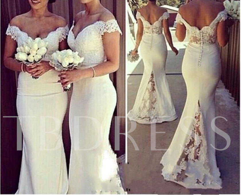 Off-The-Shoulder Lace Mermaid Bridesmaid Dress