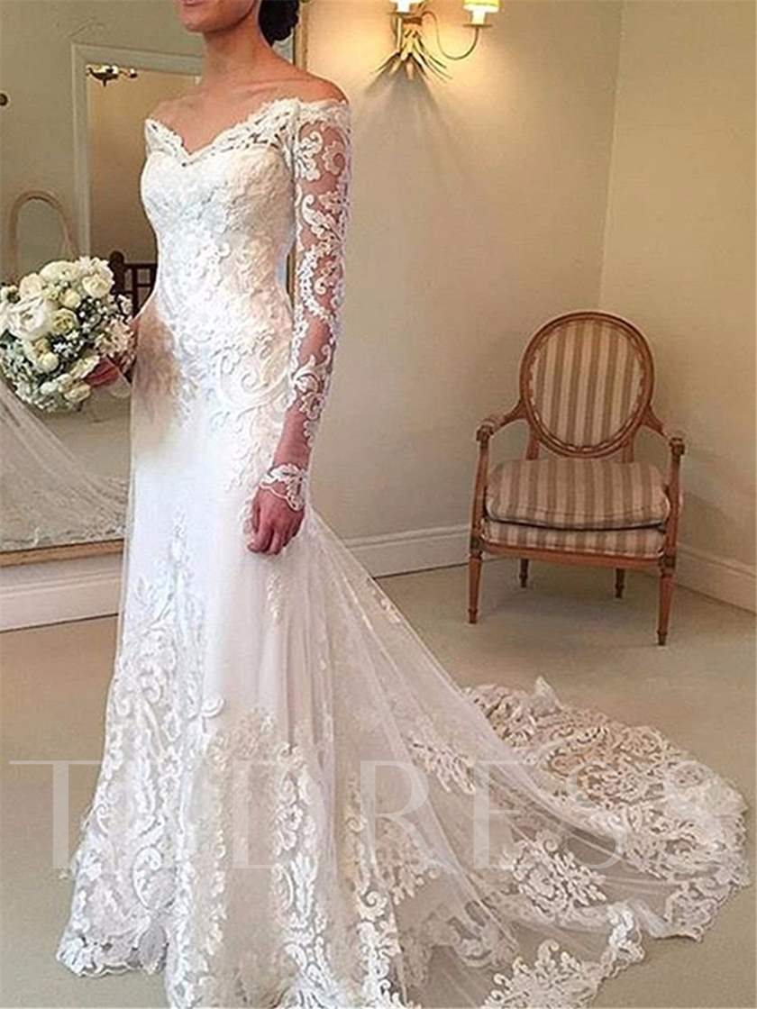 Mermaid Lace Wedding Dress with Long Sleeve - Tbdress.com