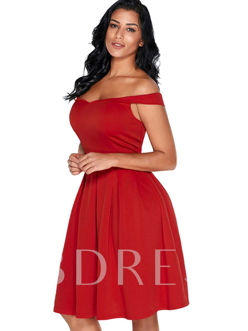 Off Shoulder Pleated Women's Day Dress