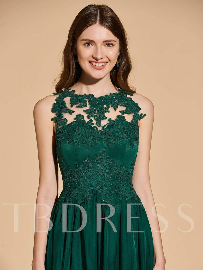 A-Line Button Lace Scoop Prom Dress