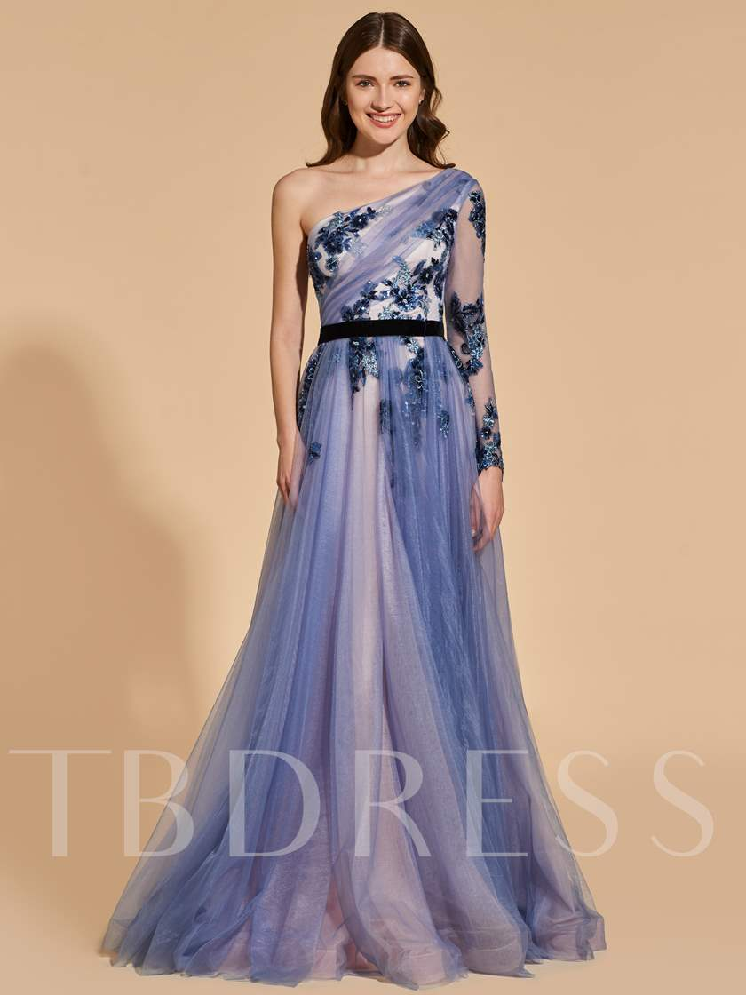 A-Line One-Shoulder Beading Lace Prom Dress