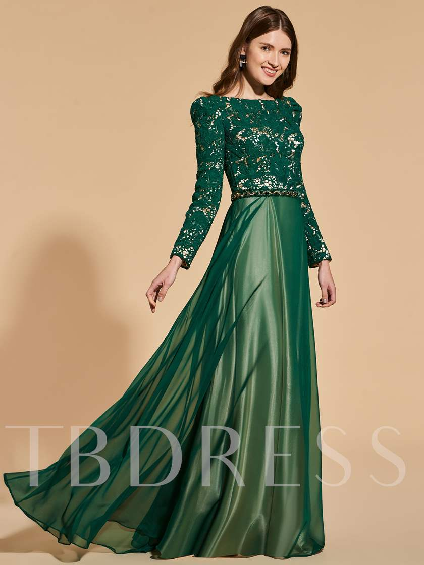 A-Line Beading Lace Sashes Prom Dress