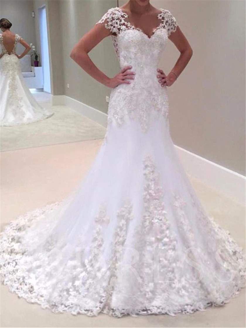 V-Neck Short Sleeves Appliques Mermaid Wedding Dress