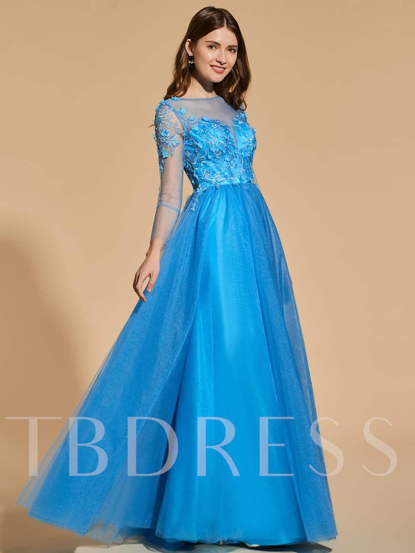 A-Line Button Long Sleeves Prom Dress