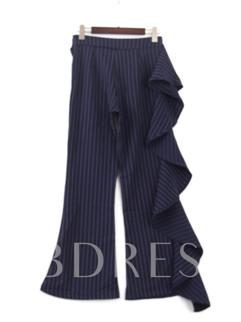 Stripe Falbala Bellbottom Loose Women's Casual Pants