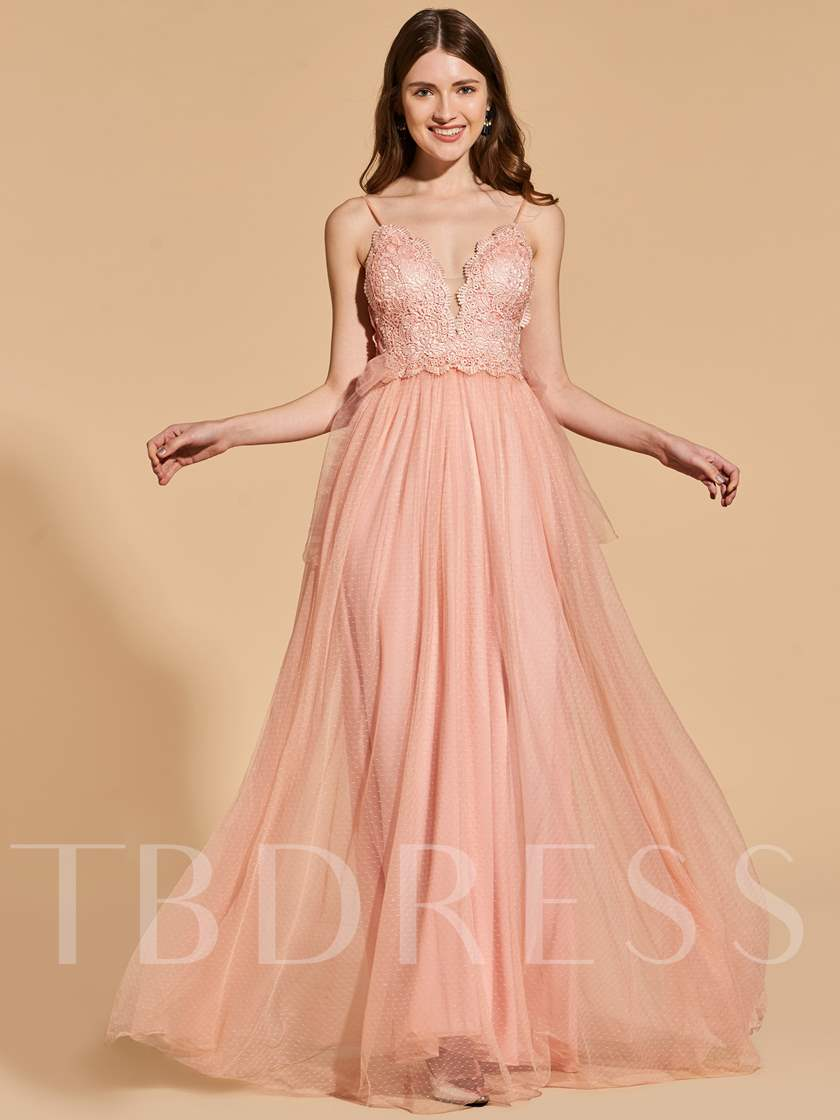 Spaghetti Straps Empire A-Line Prom Dress