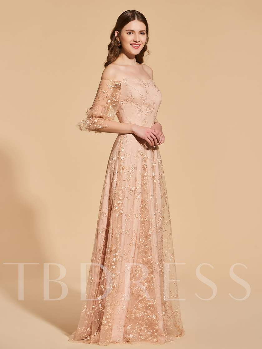 Off-the-Shoulder Half Sleeves Lace Prom Dress