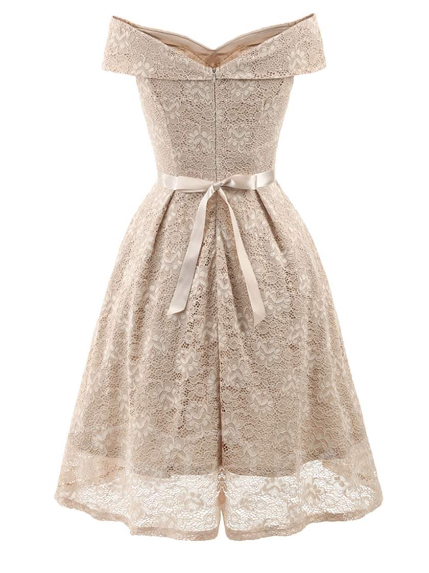 Off Shoulder Knot Women's Lace Dress