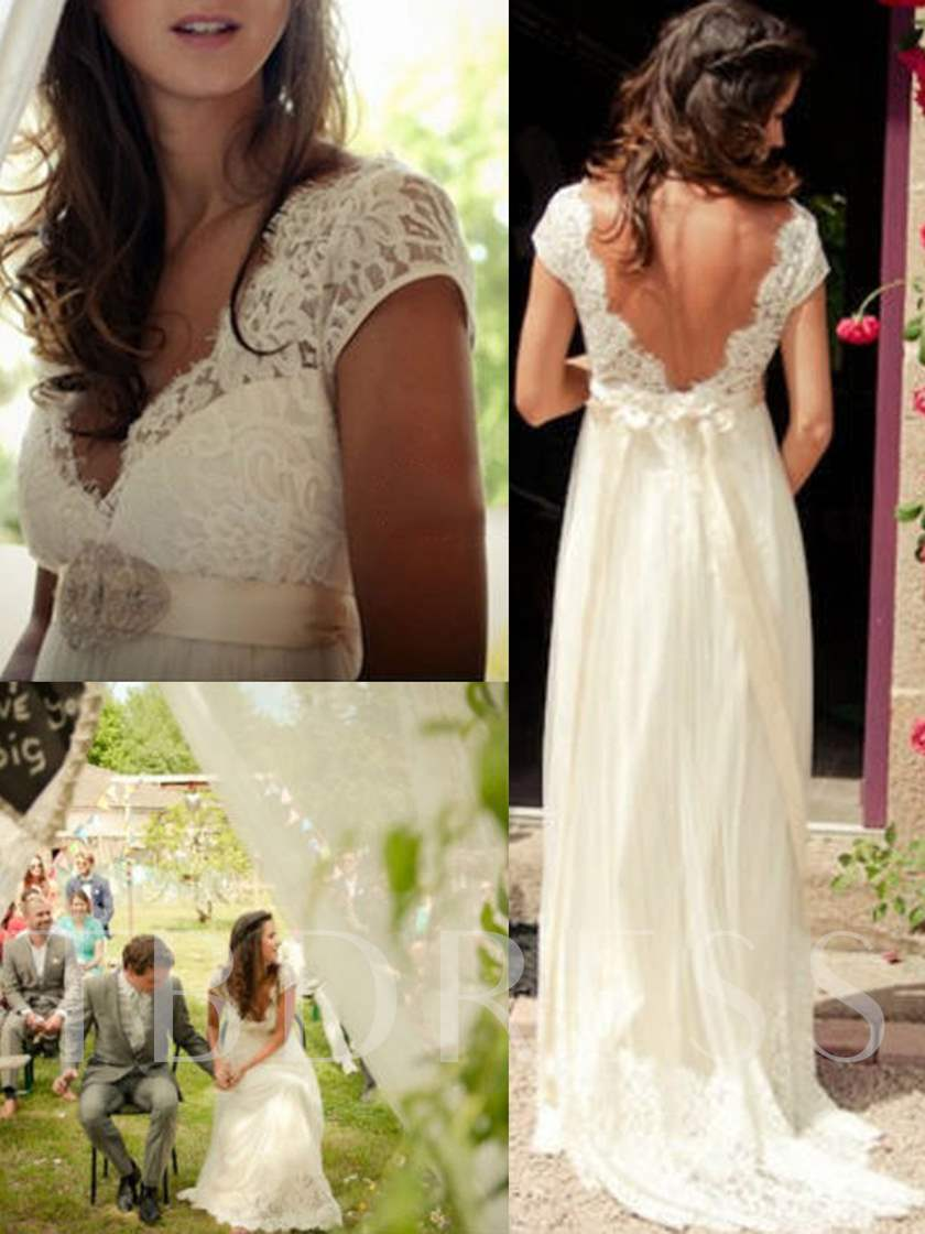 Empire Waist Beading Lace Beach Wedding Dress
