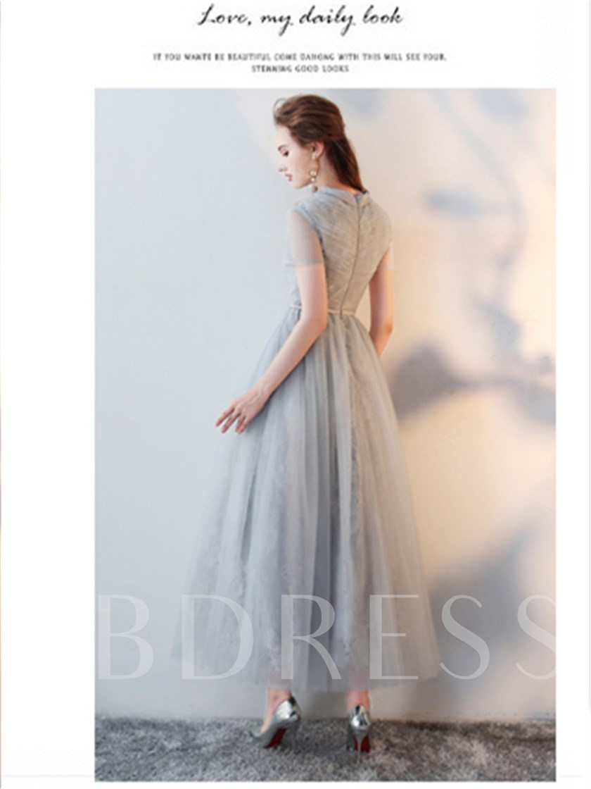 A-Line High Neck Lace Prom Dress