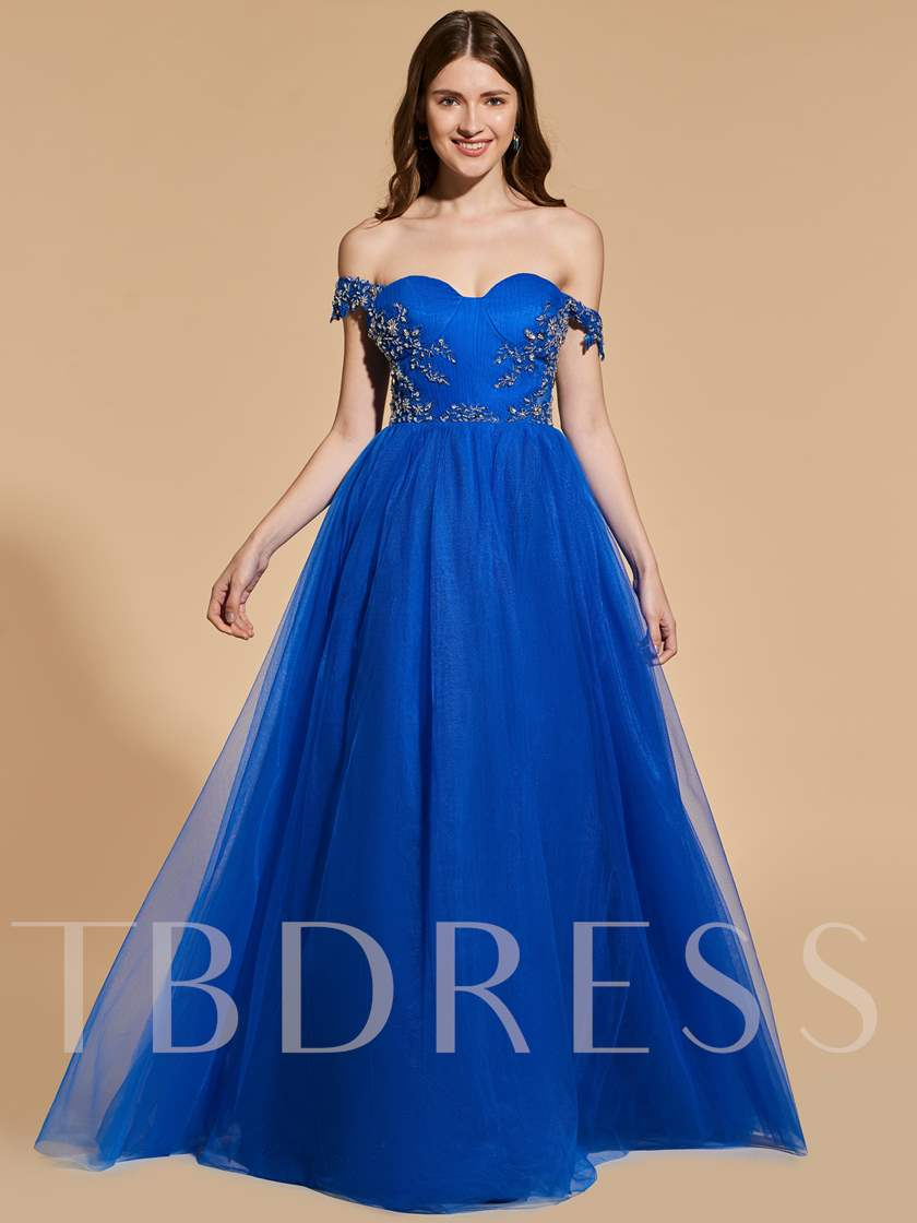 Beading Appliques Royal Blue Prom Dress