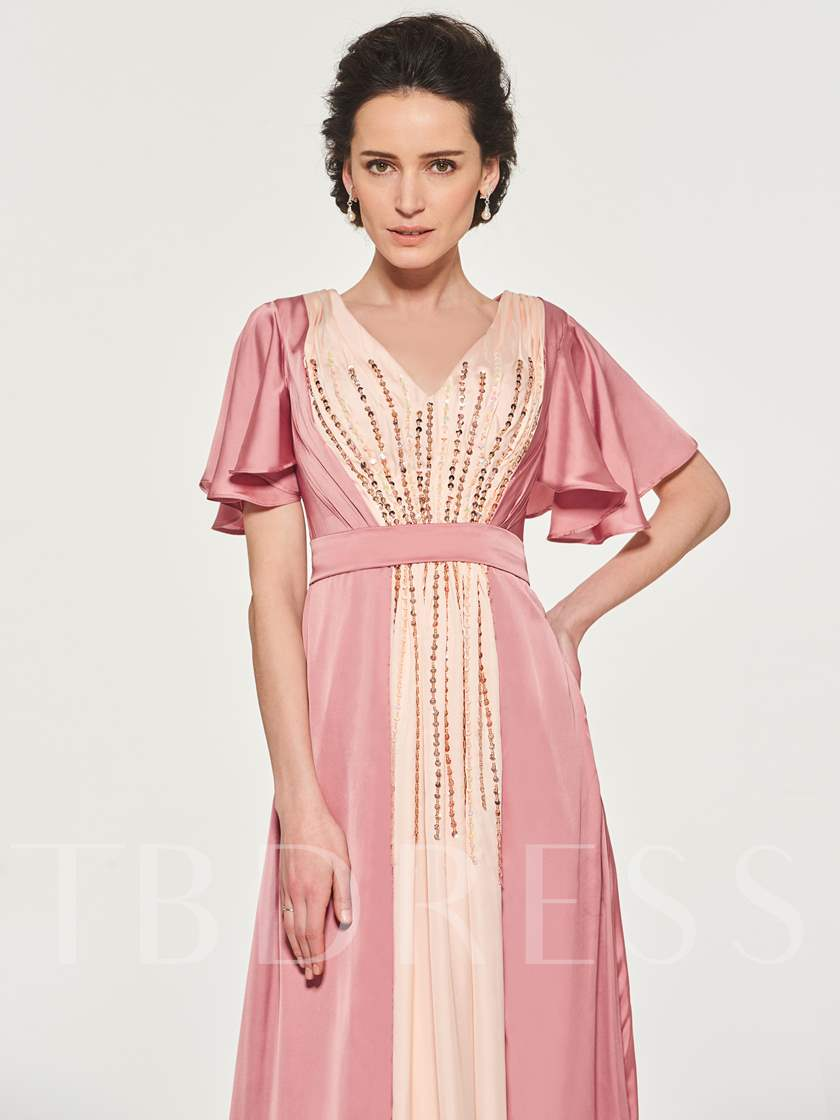 Short Sleeve Sequins Mother of the Bride Dress