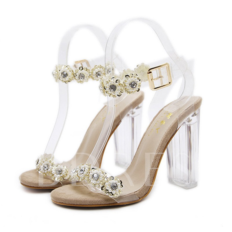 Clear Strappy Lucite Chunky Heel Women's Beauty Sandals
