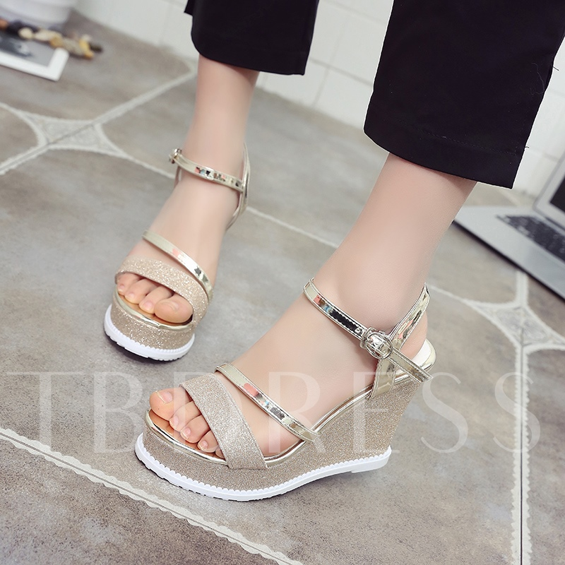 Buckle Platform Wedge Heel Sandals for Women