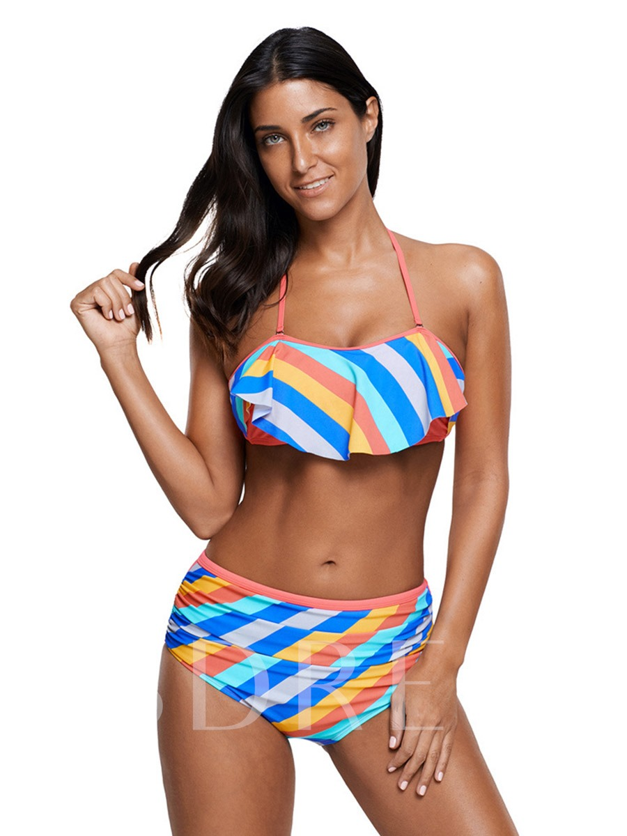 High Waist Falbala Striped Ruffle Women's Bikini Set
